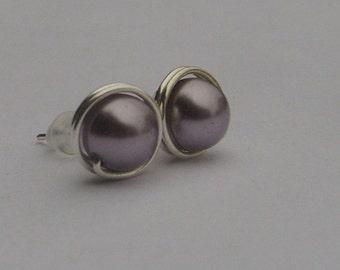 Mauve Pearl Stud Earrings (8mm), Swarovski Pearl Stud Earrings, Wire Wrapped Sterling Silver Stud Earrings, Medium Mauve Stud Earrings