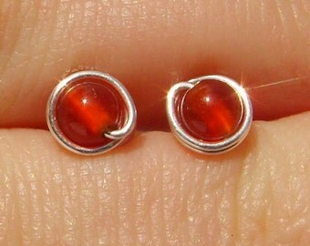 Mini Red Agate Stud Earrings (5mm), Gemstone Stud Earrings, Wire Wrapped Sterling Silver Stud Earrings, Little Red Stud Earrings