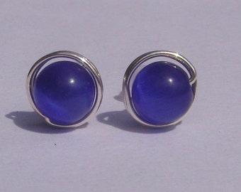 Dark Blue Cats Eye Stud Earrings (8mm), Cats Eye Stud Earrings, Wire Wrapped Sterling Silver Stud Earrings, Medium Dark Blue Stud Earrings