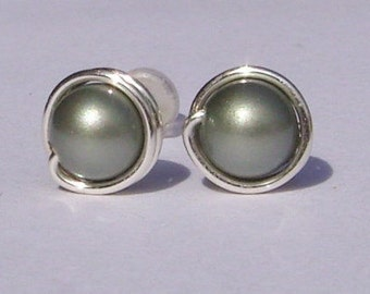 Small Powder Green Pearl Stud Earrings (7mm), Swarovski Pearl Stud Earrings, Wire Wrapped Sterling Silver Stud Earrings, Green Stud Earrings