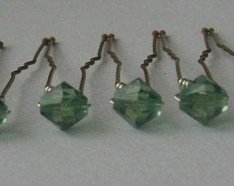 Erinite Hair Pins, Wedding Hair Pins, Crystal Hair Pins, Crystal Bobby Pins, Swarovski Hair Pins - Set of 6 6mm