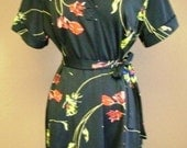 Vintage Black Floral Day Dress with Belt