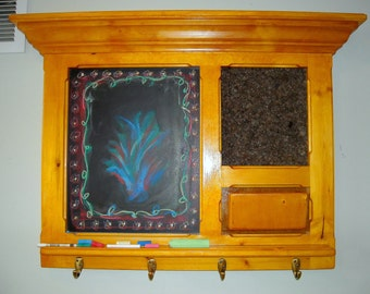 Amber Shellac Framed Bulletin Board featuring a Cork board and a Chalkboard