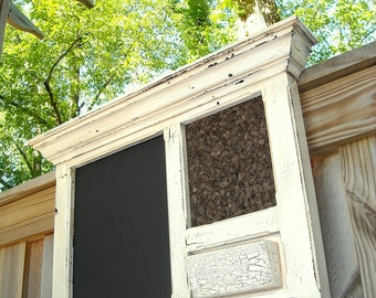 Crackled Antique White Bulletin Board Message Center