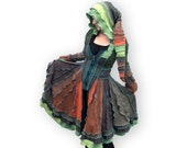 RESERVED FOR CHELLEMYBELLE - Through the Forest - Patchwork Sweater Coat Creation - XS/S - Made from Recycled Sweaters
