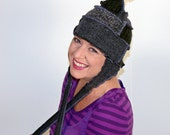 The Grays Pointed Pixie Hat -- Recycled Sweater Hat-- Made from Recycled Sweaters