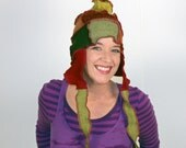 Harvest Multi Pointed Pixie Hat -- Recycled Sweater Hat-- Made from Recycled Sweaters