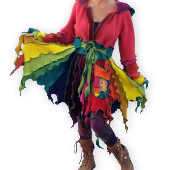 Reserved for Linda -- Fairy RIng -- M/L --  Flutterby Pixie Patchwork Sweater Coat Creation-- Made from Recycled Sweaters