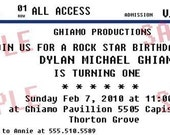 Concert Ticket Party Invitation/ Rock Star Birthday Party (Print at Home)