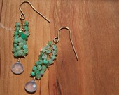 Green and Gold Beaded Cluster Earrings with Chrysoprase and Moonstone
