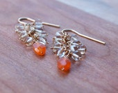 Gold Citrus Beaded Cluster Earrings with Citrine and Carnelian