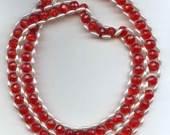 Red Acrylic Bead and Pearl Necklace