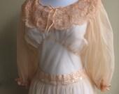 Vintage sheer chiffon nightgown in Dusty Peach