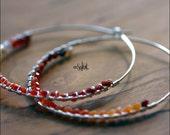 Sterling Silver Hoop Earrings Fire Opal Gemstone Beads Art Jewelry Silver Hoop Earrings Red Coral Peach Orange
