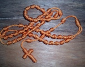 Orange Knotted Cord Rosary