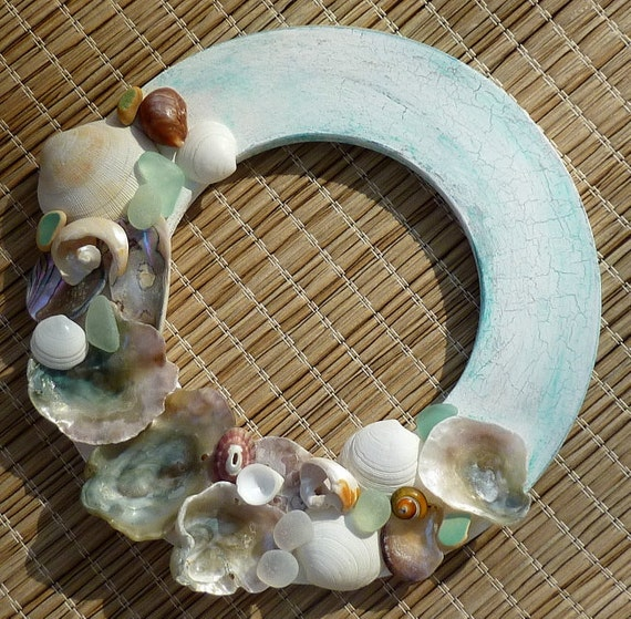 Sea Glass Wreath - Crackled White over Turquoise Wreath with SeaGlass and Shells -- Beach Decor