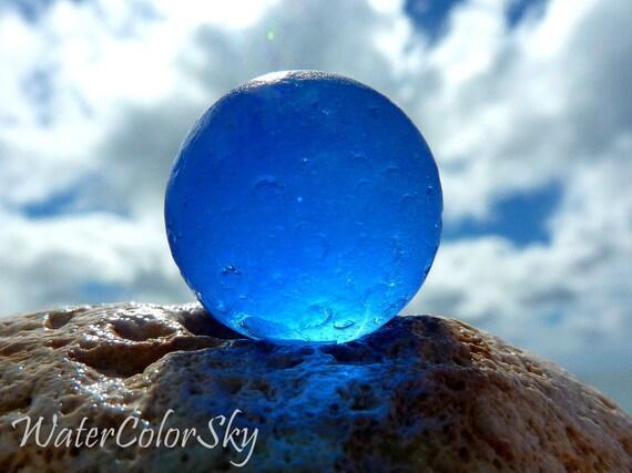 "Photo Card - ""Cornflower Cobalt Blue Sea Glass Marble"""