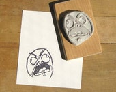 Rage Face Hand Carved Stamp