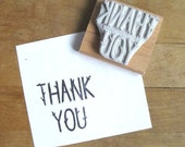 Twig Letter Thank You - Hand Carved Stamp