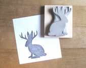 Jackalope Silhouette Hand Carved Stamp