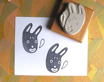 Little Rabbit Face - Hand-Carved Stamp