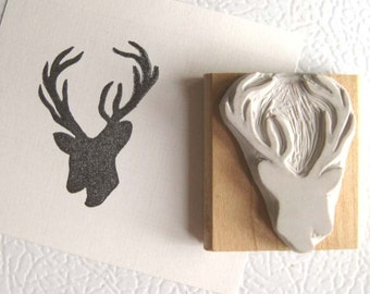 Deer Silhouette Hand Carved Stamp
