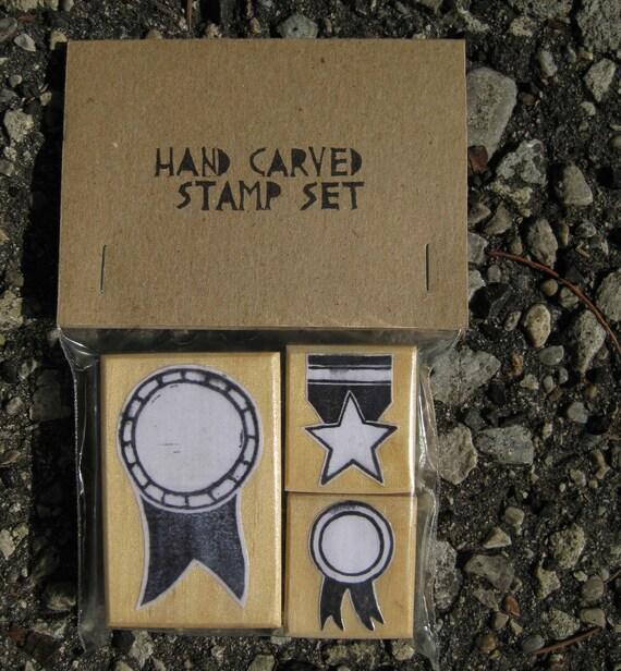 Badges and Medals - Hand-Carved Stamp Set