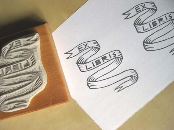 Ex Libris Banner / Bookplate - Hand-Carved Rubber Stamp - Custom Name Option