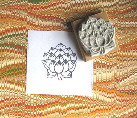 Japanese Lotus - Hand-Carved Stamp