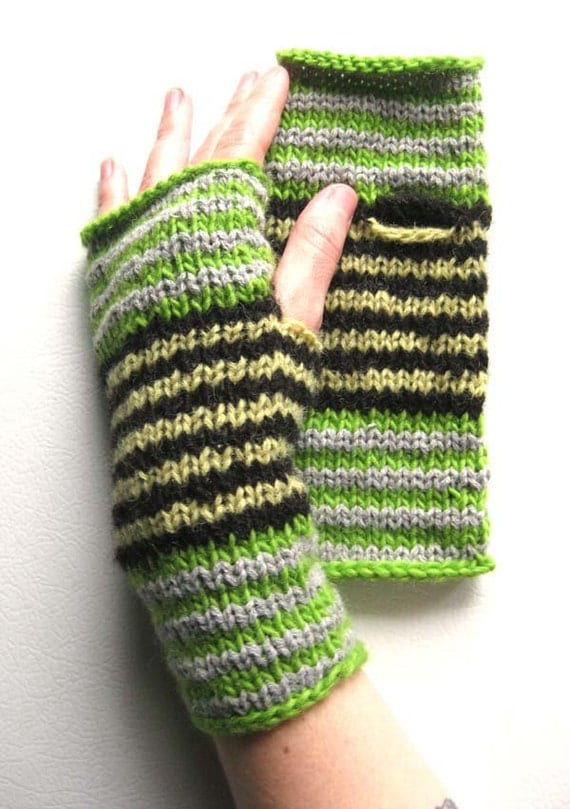 SALE Green Circus Stripe Wrist Warmers