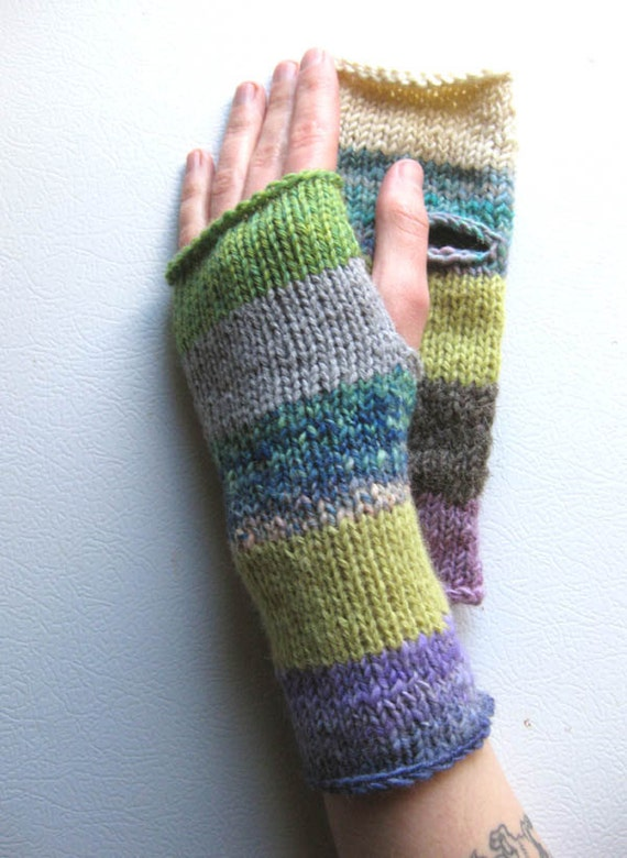 Patchwork Girl Striped Wrist Warmers