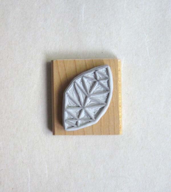 Geometric leaf hand carved stamp etsy finds