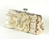 CELESTIA - Champagne Bridal Clutch Purse with Ruffles and Rhinestones