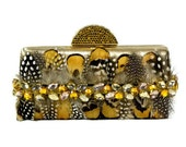 Gold Satin Minaudiere Clutch with Guinea Feathers and Crystals, Evening Bag, Feather Clutch
