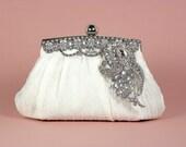 Ivory Bridal Clutch, Wedding Clutch, Rhinestone Bridal Clutch, Vintage Style Bridal Clutch, Wedding Accessories