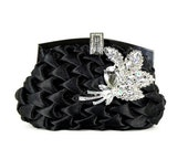 Black Evening Bag Wedding Clutch Bridesmaids Clutch with Crystal Rhinestone Leaves Brooch Accent
