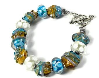 MAUI - Lampwork Beaded Bracelet with Ocean Waves