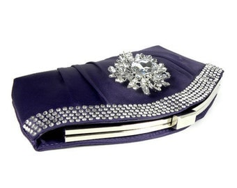Purple Rhinestone Clutch, Purple Bridal Clutch, Purple Bridesmaids Clutch , Wedding Clutch, Evening Bag with Crystals and Brooch Accent