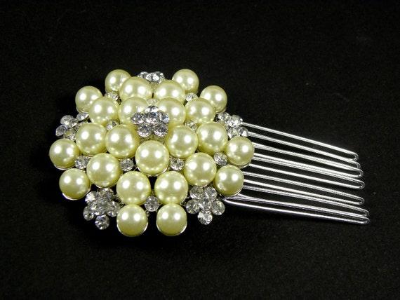 Ivory Pearl Bridal Comb, Crystal Bridal Comb, Wedding Comb, Crystal Bridal Hair Comb, Wedding Accessories