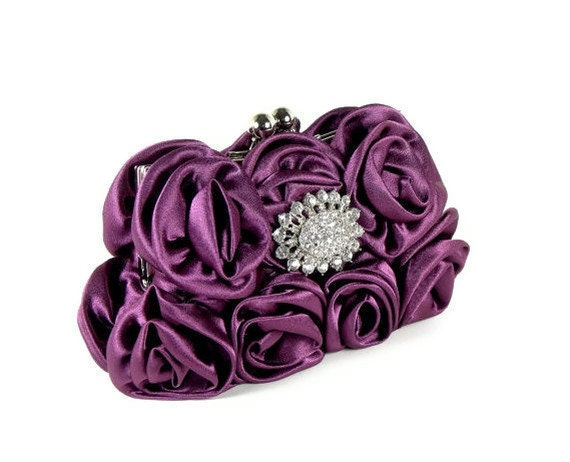 CAMILLE - Purple Evening Bag Bridal Bridesmaid Clutch Purse with Satin Roses and Crystal Accent