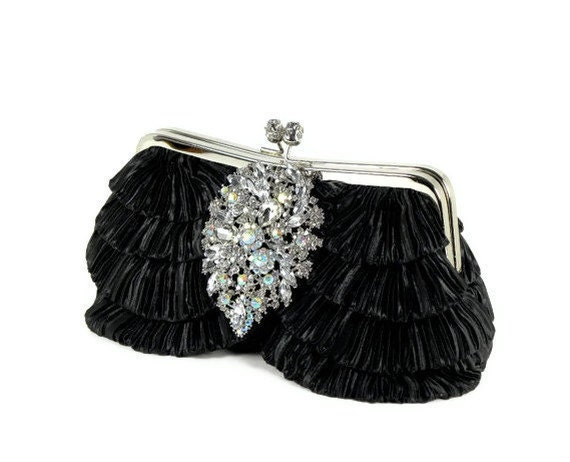 Black Bridal Clutch Purses, Wedding Clutch, Ruffle Clutch with Large Vintage Style Bridal Bouquet Accent