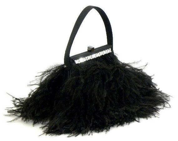 FINAL CLEARANCE SALE - Premium Black Ostrich Feather Clutch Evening Bag with Crystal Trim