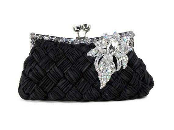 Black Bridal Clutch Purse, Bridesmaids Clutch, Black Evening Bag ...