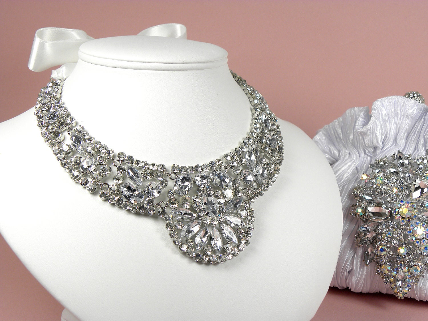 Bridal Rhinestone Statement Necklace Wedding Jewelry Ribbon