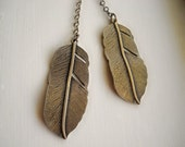 Free Spirit - Double Feather Lariat in Antiqued Brass
