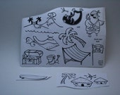 TROPICS  stamp set  - unmounted red rubber  stamps -  set of 19 stamps   - Destash