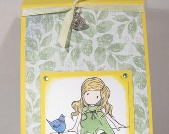 WINE BOTTLE gift tag - Great idea for gift - Girl - BIRD - Heart charm
