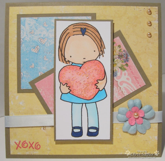 Hugs and Kisses LOVE - Valentines Day - Anniversary -  OOAK card