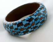 Blue and brown bangle bracelet clay intricate pattern geometric - HiGirls