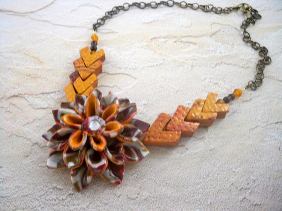 Polymer clay necklace lotus blossom